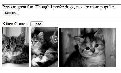 kittens page, with angular turned off