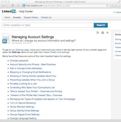 A LinkedIn help page