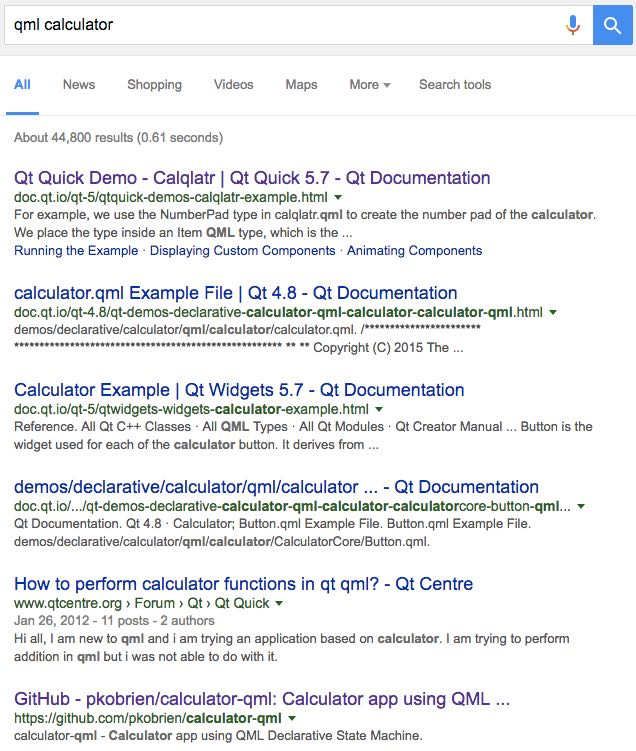 searching for qml calculator on google doesn't take you to a canonical page
